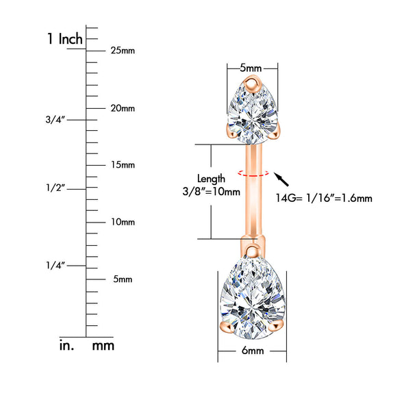14G 316L Stainless Steel Double Crystal Belly Button Ring