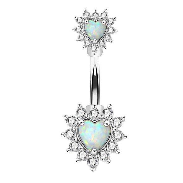 clear opal belly button ring