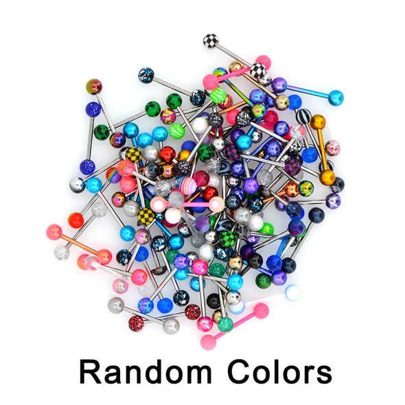 14G 100PCS Tongue Ring Ball Colorful Acrylic Tongue Barbells(Random Colors) - OUFER BODY JEWELRY