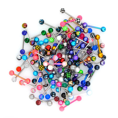14G 100PCS Tongue Ring Ball Colorful Acrylic Tongue Barbells(Random Colors)
