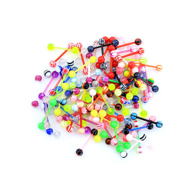 14G 100PCS Different Candy Color Acrylic Barbell Tongue Rings(Random Colors) - OUFER BODY JEWELRY