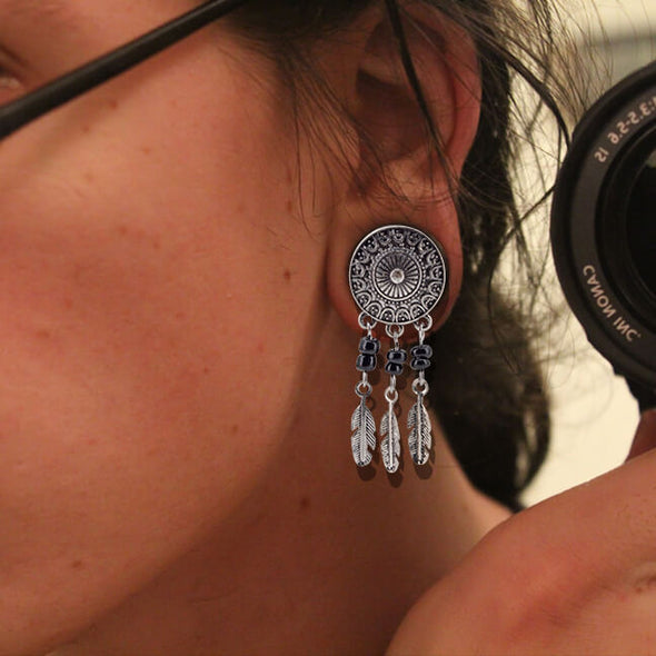 1 pair Dream Catcher Plug Earrings Gauge Tunnels - OUFER BODY JEWELRY