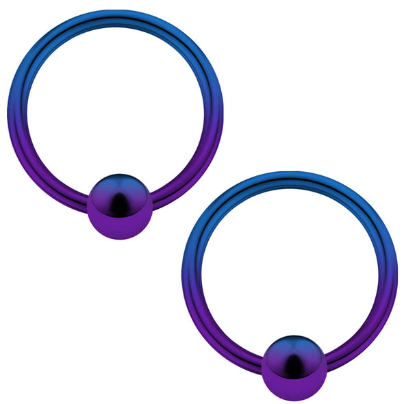 2PCS 14G Blue Purple Captive Bead Septum Ring Pair - OUFER BODY JEWELRY