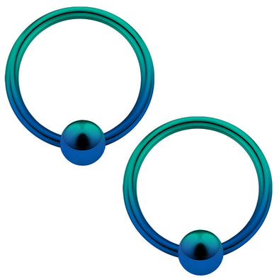 2PCS 14/16/18/20G Green-Blue Plated Captive Rings - OUFER BODY JEWELRY