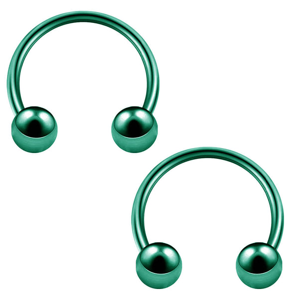 2PCS 14G Green Surgical Steel Horseshoe Septum Ring - OUFER BODY JEWELRY