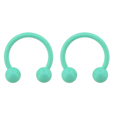 2PCS 10mm Macaron Green Horseshoe Septum Ring Daith Helix Earring Piercing Tragus Jewelry