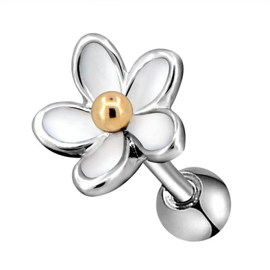16G Silvery Flower Golden Flower Pistil Cartilage Helix Earring Piercings Daith Tragus Body Jewelry