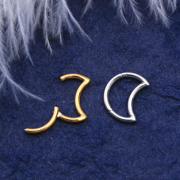16G Crescent Moon Closure Ring Daith Earring