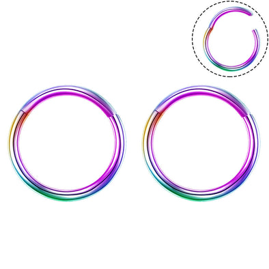 2PCS 16G Rainbow Hinged Hoop Earrings Segment Rings Cartilage Earrings Nose Ring