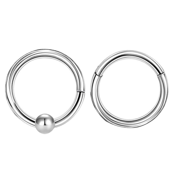 2PCS 16G Classical Hinged Segment Septum and Nose Ring - OUFER BODY JEWELRY