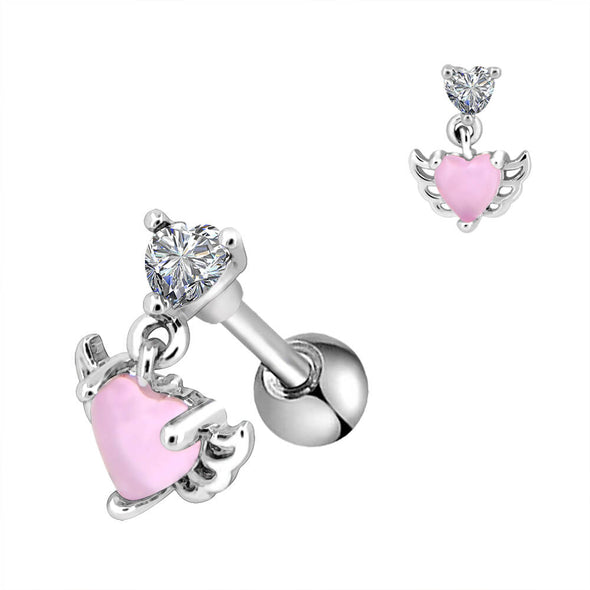 heart dangle tragus stud