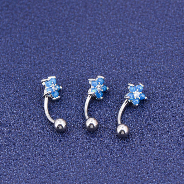 16G CZ Aquamarine Opal Cartilage Rook Earring Rings Piercing - OUFER BODY JEWELRY