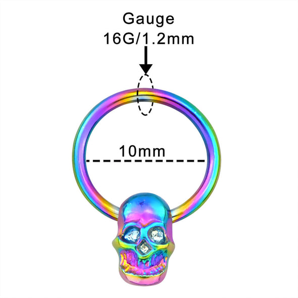 Colorful Skull Septum Ring Bead Circular Barbell