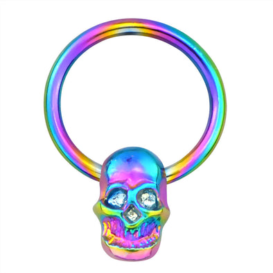 Colorful Skull Septum Ring Bead Circular Barbell - OUFER BODY JEWELRY