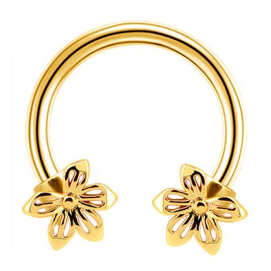 gold flower septum ring