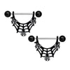 Black Cute Spiders on Web Halloween Dangle Nipple Ring Piercings Set - OUFER BODY JEWELRY