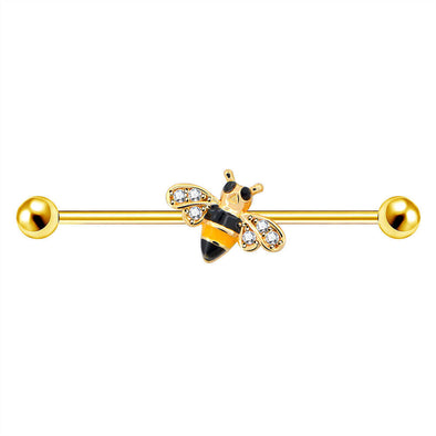 14G Golden Bee Industrial Barbell - OUFER BODY JEWELRY