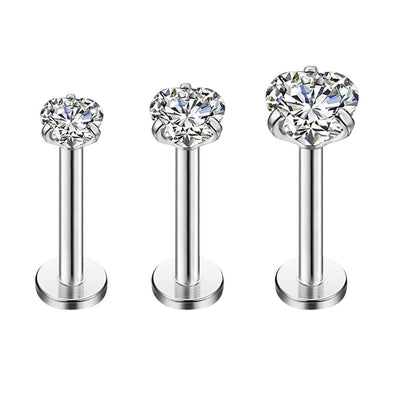 3Pcs 16G Heart CZ Labret Stud Internally Threaded Helix Studs - OUFER BODY JEWELRY
