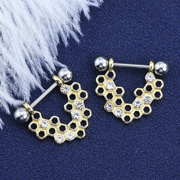14G Golden Honeycomb Nipple Rings Nipple Barbells