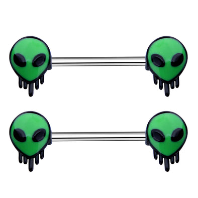 14G Alien Nipple Ring Set - OUFER BODY JEWELRY
