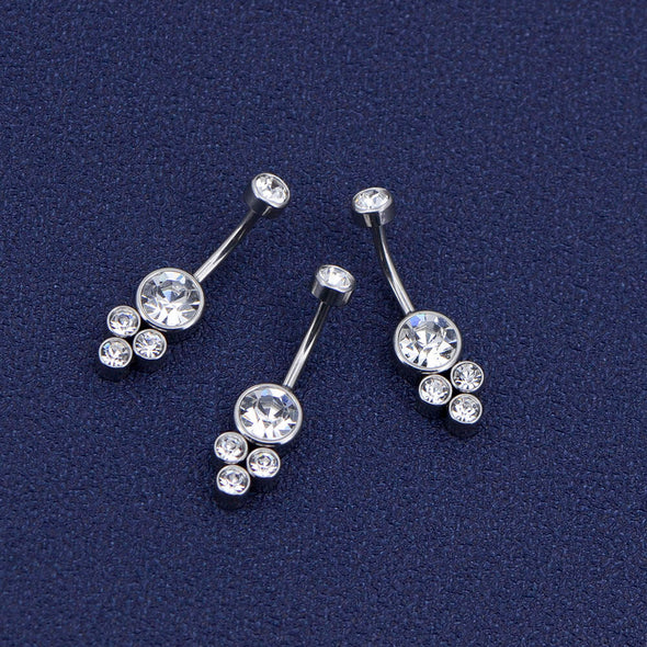 14G CZ Five Cylindrical Gem Belly Button Ring Body Piercing - OUFER BODY JEWELRY