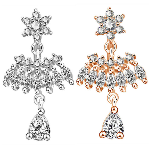 oufer diamond dangle belly button rings