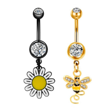 14G Flower and Bumble Bee Dangle Navel Ring Set - OUFER BODY JEWELRY
