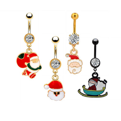 14G CZ Santa Claus Gold and Black Belly Button Rings - OUFER BODY JEWELRY