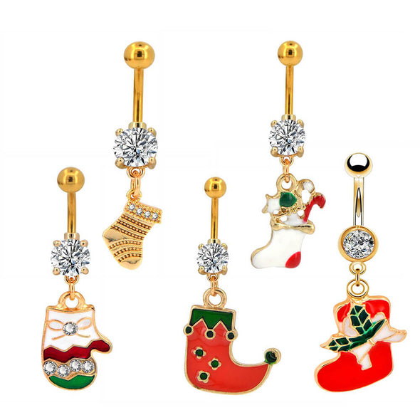 oufer christmas  stocking dangle belly rings