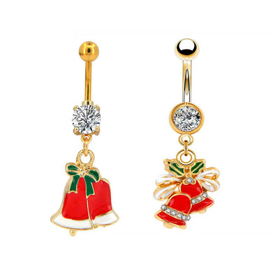 14G CZ Christmas Jingle Bell Belly Button Rings - OUFER BODY JEWELRY