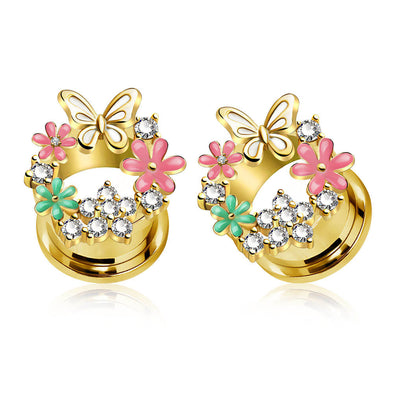 1 Pair 8MM-10MM-11MM Cute Flower Plug Earrings - OUFER BODY JEWELRY