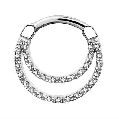 16G CZ Double Loop Daith Earrings Septum Clicker - OUFER BODY JEWELRY