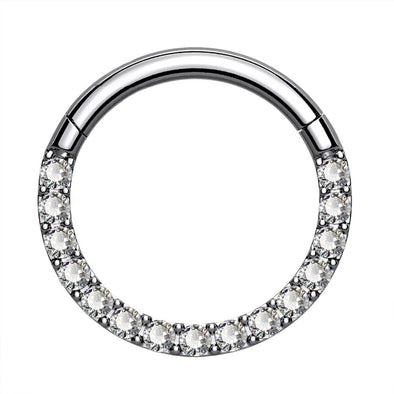 16G Crystal CZ Titanium Hinged Segment Septum Ring - OUFER BODY JEWELRY