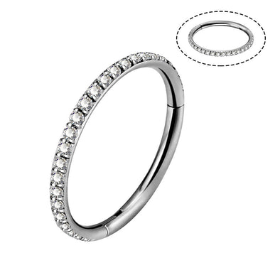 16G CZ Titanium Segment Cartilage Hoop Earrings - OUFER BODY JEWELRY