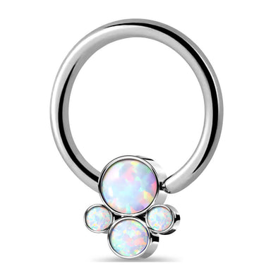 16G Puppy Paw Opal Nose Hoop G23 Titanium Cartilage Earring - OUFER BODY JEWELRY