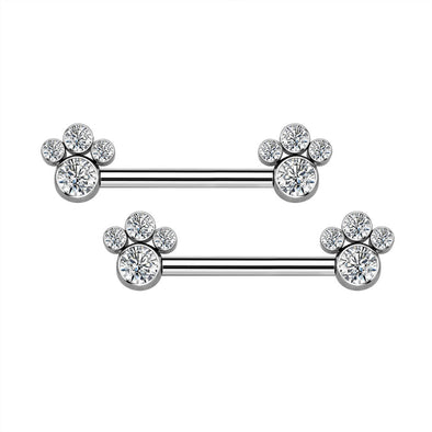 14G Titanium Nipple Ring CZ Dog Paw Nipple Jewelry - OUFER BODY JEWELRY