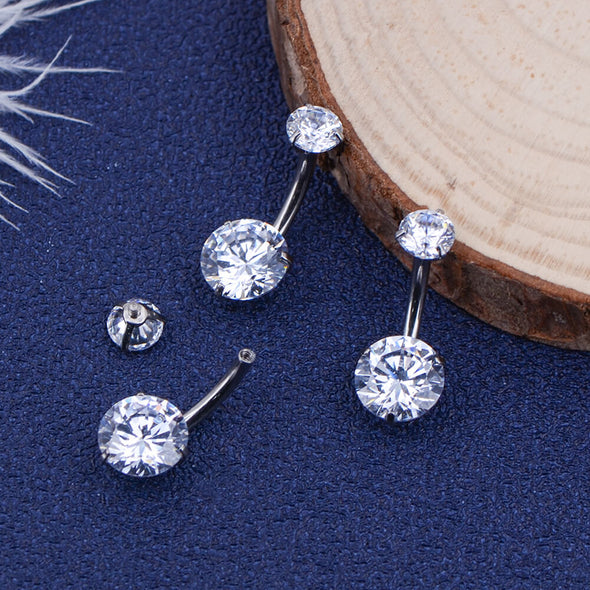 14G Round Double CZ Titanium Belly Button Ring Belly Piercing - OUFER BODY JEWELRY