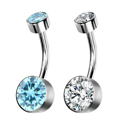 14G Double Round Shining CZ Titanium Flat Belly Button Ring - OUFER BODY JEWELRY