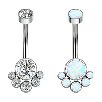 14G Titanium Navel Ring CZ and Opal Dog Paw Belly Button Ring - OUFER BODY JEWELRY