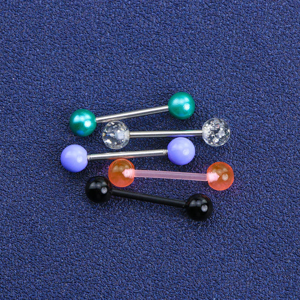 5PCS 14G 316L Stainless Steel and Acrylic Barbell Tongue Rings - OUFER BODY JEWELRY