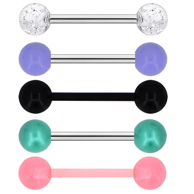 14G 316L Stainless Steel 5PCS Tongue Rings Barbell Acrylic Ball Tongue Piercing Women