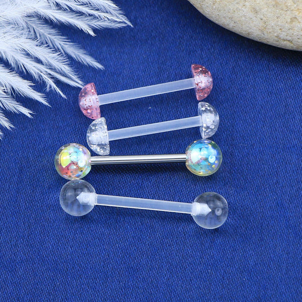 5 Pcs 14G Transparent Acrylic Tongue Rings Set - OUFER BODY JEWELRY
