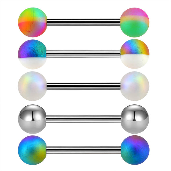 5PCS 14G Rainbow Stainless Steel Tongue Rings - OUFER BODY JEWELRY