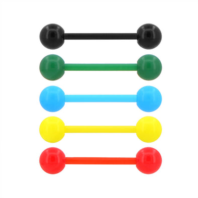 5PCS 14G Acrylic Candy Color Tongue Barbell Ring Pack - OUFER BODY JEWELRY