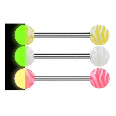 14G 3Pcs Glow in the Dark Acrylic Ball Tongue Ring - OUFER BODY JEWELRY