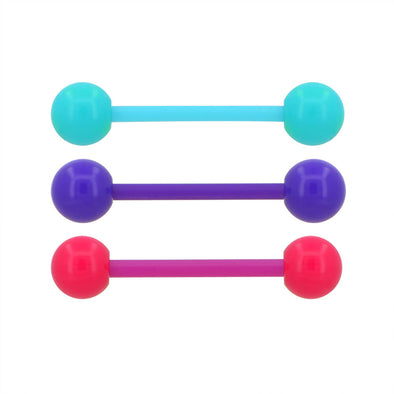 3PCS 14G Blue Purple Red Macaron Ball Tongue Piercings Ring Set - OUFER BODY JEWELRY