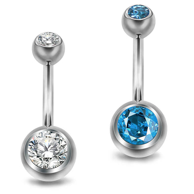 14G Grade 23 Solid Titanium Belly Button Ring Navel Piercings