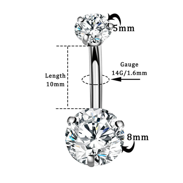 14G Clear CZ Faceted Round Cubic Zirconia  Belly Button Ring - OUFER BODY JEWELRY
