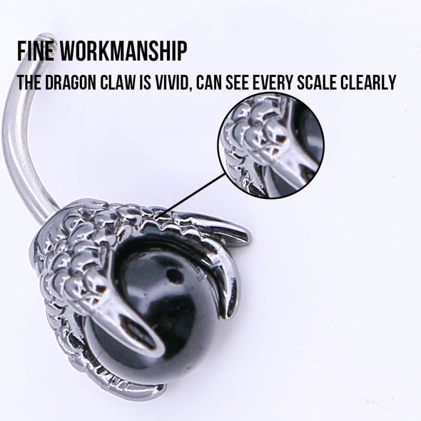 14G Three Dragon Claw Hand with Gem Ball Belly Ring - OUFER BODY JEWELRY