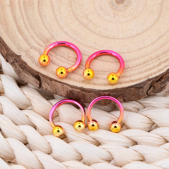 3/8'' Pink and Yellow Gradient Horseshoe Septum Rings - OUFER BODY JEWELRY